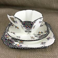 SHELLEY QUEEN ANNE CUP SAUCER PLATE TRIO BLACK LEAFY TREE 11575 China Art Deco