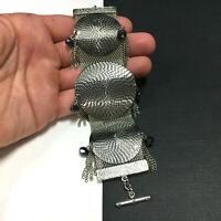 Funky & WIDE Silver Mesh Bracelet Modernist Crystal Bead Tassels Vintage RR195e