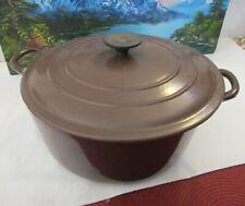 "Vintage Le Creuset ""G"" 7-1/4 Qt. Brown Enameled Dutch Oven with Lid 11"" Diameter"