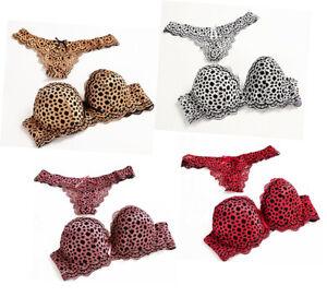 Uk Sexy Leopard Print Extreme Padded Plunge Push Up Bra & Thongs Bra Sets 32-40
