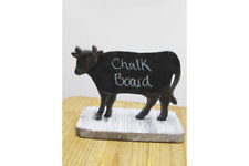 Black Metal COW Chalk Board Mounted On Wood Stand