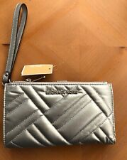Michael Kors Peyton Large Double Zip Wristlet iPhone Wallet Quilted Silver NWT