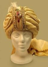 ALADDIN Genie Arabian Nights SULTAN SHIEK SINBAD Mens Gold TURBAN HAT HEADWEAR