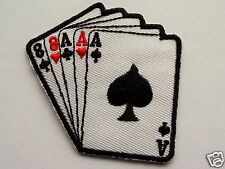 Aces and Eights Embroidered Sew On Iron on Biker patch Motorcycle Dead Mans Hand
