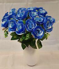 Artificial Blue Rose Bouquet Silk Flower 18 Head Wedding Valentines Fern Foliage
