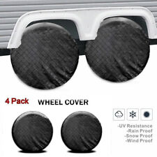 4x Tire Covers for Rv Trailer Camper Vinyl Wheel Cover Sun Rain Protector 26-27""