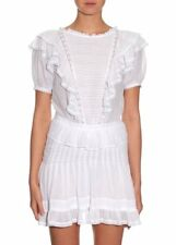 Isabel Marant 36/4 NAOKO White Short Sleeve Lace Trim Ruffled Dress # 1762