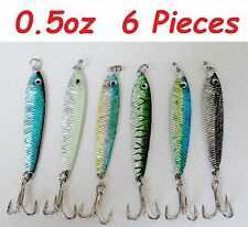 0.5 oz Mega Live Bait Metal Jigs Fishing Lures 6 Pieces Random Colors
