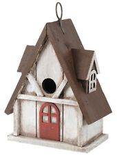Tudor Style Cottage Birdhouse, Wood, Antiqued Red, White, Brown, Rustic