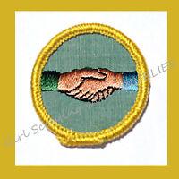 Rare WORLD UNDERSTANDING Cadette Girl Scout NEW Badge Handshake 1960s Combine
