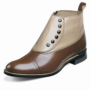 Stacy Adams Mens Madison Brown Multi Leather Spat Buttons Side Zipper Dress Boot