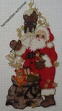 Fensterbild Weihnachtsmann echte Plauener spitze