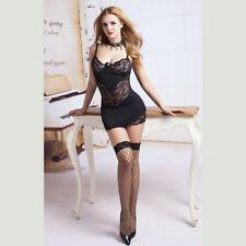 Black Microfibre & Lace Slip Babydoll, Stockings & Gstring set Women's Lingerie
