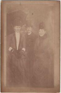 Smiling Woman Man Top Hat Umbrella Monsieur Alphonz Frank ID 1888 Vintage Photo