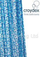 Croydex Blue Mosaic PVC Vinyl Shower Curtain for Bathroom Bath Waterproof