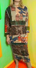 90s STREETWEAR Vintage V C TORIAS Hand Painted CITYSCAPE Sweat Shirt/Skirt  XS/S