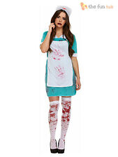 Ladies Zombie Bloody Nurse Costume Womens Halloween Fancy Dress Size 10 12 14