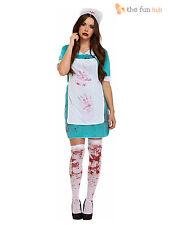 Ladies Zombie Bloody Nurse Costume Womens Halloween Fancy Dress Size 10 12 14