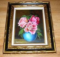 VINTAGE GARDEN FLOWERS BOUQUET VASE CAMELLIA ROSES PEONIES STILL LIFE PAINTING