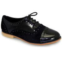 Ladies Lace Up Patent Contrast Flat Low Heel Smart Office School Brogue Shoes