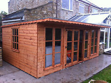 wooden summerhouse pent with cantilever doors