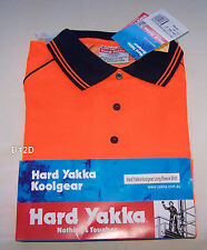 Hard Yakka Mens Koolgear 11844 Orange Hi Vis Woolscience LS Polo Size 3XL New