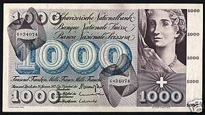 SWITZERLAND 1000 1,000 FRANCS P52 1954 DANCE LARGE RARE SWISS CURRENCY BANK NOTE
