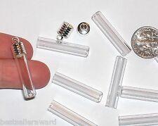1pc. Flat bottom tube Glass bottle vial fill charm pendant necklace findings