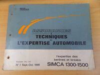 Revue technique Simca 1300, 1500 Assurances et techniques expertise auto 1966