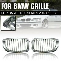 Pair Chrome Front Kidney Sport Grille Grill For BMW 3 Series E46 2 Door 2002-06