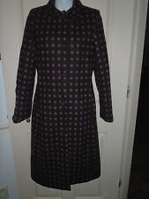 Size UK 8  Womens BODEN Wool Coat Brown w/ Purple Polka Dot