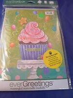 New Evergreetings Card 12.5 x 18 Garden Flag Gift Cupcake Celebrate