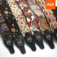 Guitar Strap Embroidered Vintage Woven Bass Electric Acoustic Guitars Adjustable