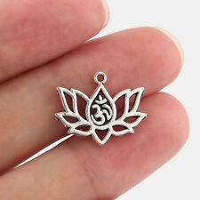 10 x Tibetan Silver Lotus Flower & OM OHM AUM Yoga Charms Pendants Beads 20x16mm