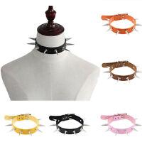 Fashion Spike Rivet PU Leather Collar Chorker Necklace Punk Style Women Jewelry