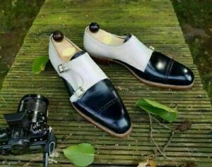 Handmade Monk Shoes Navy Blue & White Leather shoes, Men's formal Dress Shoes