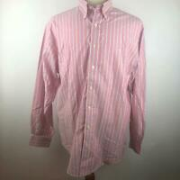 Brooks Brothers 346 Pink Striped Button Down Shirt Long Sleeve Mens Size L Large