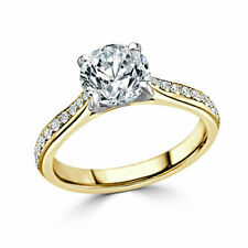 14K Yellow Gold 1.80 Ct Diamond Wedding Party Bridal Ring Round Cut Size 4 5 6 7