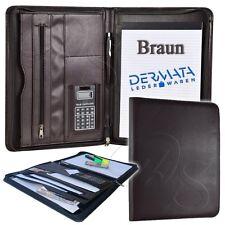 Schreibmappe + Block Dermata 2647P Braun Aktenmappe A4 Dokumentenmappe Portfolio
