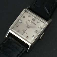 Vintage Wittnauer Two Tone Diamond Dial White Gold Filled Art Deco Dress Watch