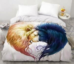 3D Sun Moon Love Lion KEP6943 Bed Pillowcases Quilt Duvet Cover Kay