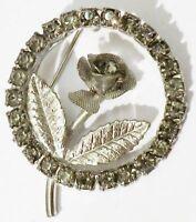 broche bijou vintage ronde cristaux diamant rose gravé couleur argent * 4666