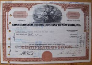Stock certificate Cosolidated Edison Comp. of New York 1970s Brown
