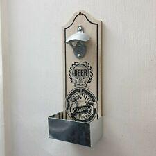 Retro Vintage Wooden Wall Mounted Beer Bottle Opener with Metal Cap Catcher Box