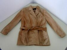 Danier LEATHER Nubuck Super Soft Beige Brown Jacket Coat Ladies Size Small NWT