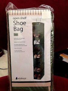 Whitmor Hanging Shoe Shelves-Sage 8 Open Shelves