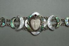SILVER 925 BALI PRINCESS bracelet. MOP & Abalone, sleeping goddess carved face