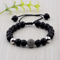 Fashion 8mm Men's Bright Zircon Micro Pave Silver Round Beaded Bracelets Jewelry