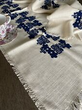 Vintage Blue Embroidered Runner And Doily Set Of Three NWOT