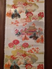 ANTIQUE SILK JAPANESE OBI FABRIC OFF WHT RED CORAL GRN BLK METALLIC GOLD SILVER
